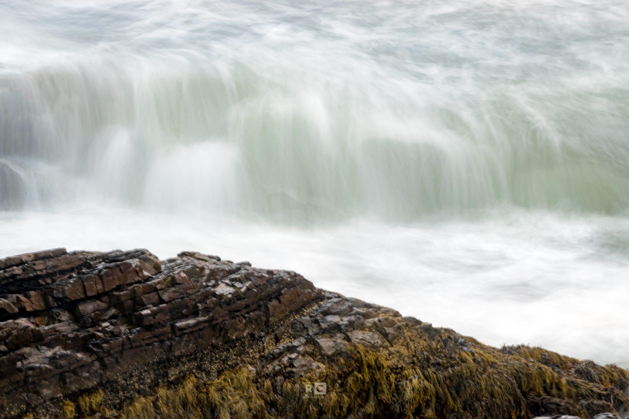 Water concealing the rocks